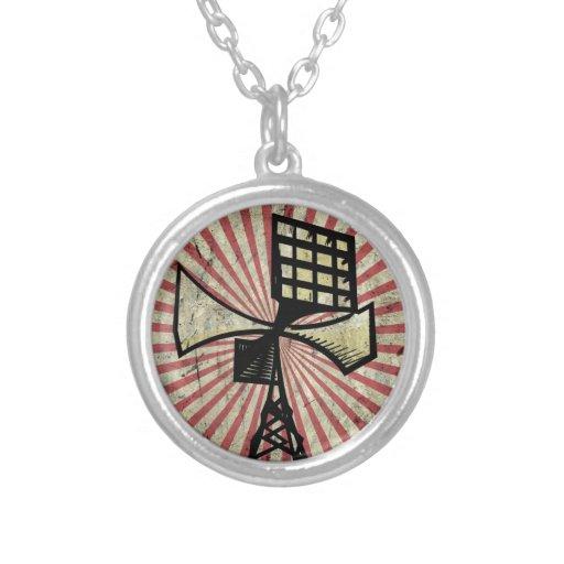 Siren radio tower round pendant necklace