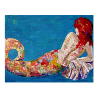 Siren Sister - mermaid collage art Postcard