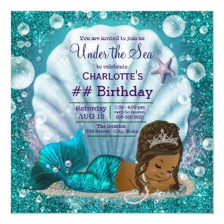 """Sirena afroamericana bajo cumpleaños del mar invitación 5.25"""" x 5.25"""""""