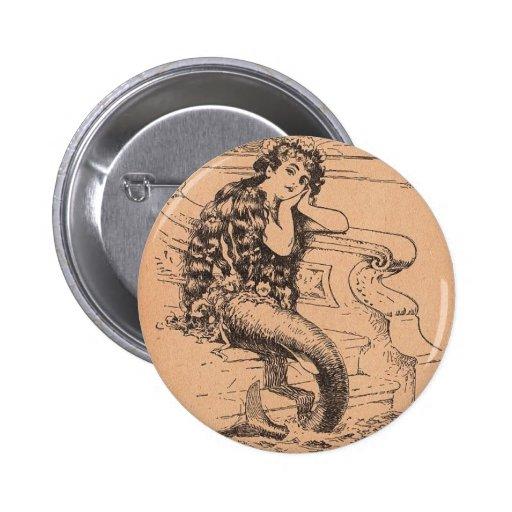 Sirena anhelante pin redondo 5 cm