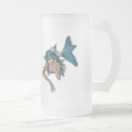 Sirena azul 3D de la aguamarina oscura Taza De Cristal
