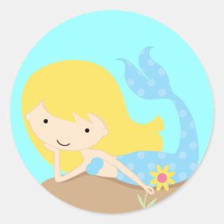 Sirena azul linda del KRW Pegatina Redonda