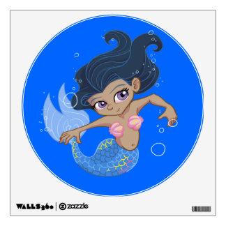 Sirena azul linda (pelo oscuro, piel oscura) vinilo adhesivo