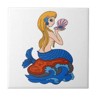 Sirena Azulejo Cuadrado Pequeño