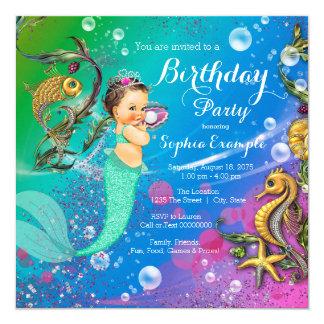 """Sirena bajo fiesta de cumpleaños del mar invitación 5.25"""" x 5.25"""""""