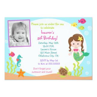 Sirena bajo invitación del cumpleaños de la foto