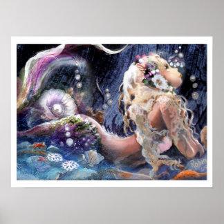 Sirena bonita en el poster del mar