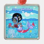 """Sirena bonita linda del """"feliz cumpleaños"""" ornamentos de reyes"""