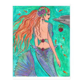 ¡Sirena color de rosa arte de la fantasía del delf Postales