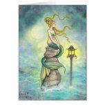 Sirena con arte de la fantasía de la linterna y de tarjeta