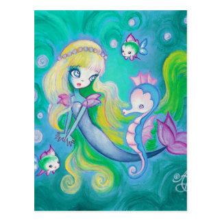 Sirena con el caballo y los pescados de mar tarjeta postal