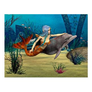 Sirena con el delfín postal