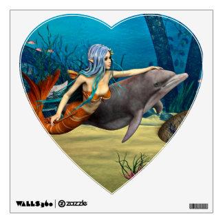 Sirena con el delfín vinilo