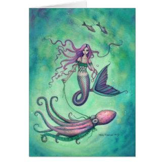 Sirena con el ejemplo del arte de la fantasía del tarjeta de felicitación