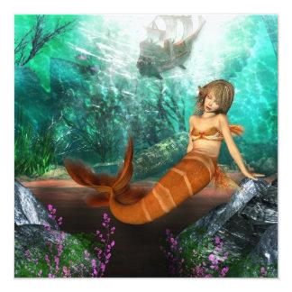 """Sirena con el naufragio invitación 5.25"""" x 5.25"""""""