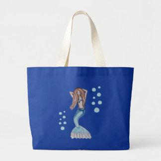 Sirena con el pelo rojo bolsa de tela grande