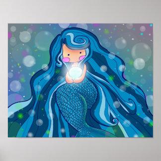 Sirena con el poster brillante de la perla
