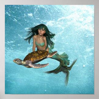 Sirena con el poster de la tortuga de mar