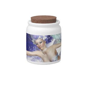 Sirena con el tarro del caramelo del delfín jarra para caramelo