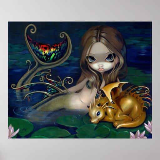 Sirena con fae de oro del dragón del arte de una f impresiones