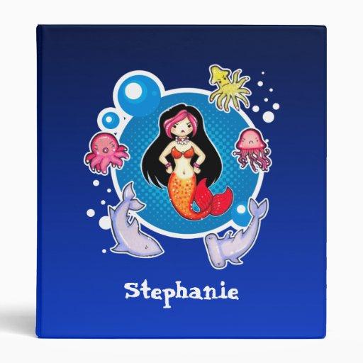 Sirena con la carpeta personalizada linda de la ac