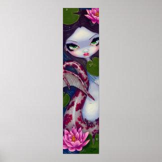 Sirena con la impresión grande gótica rosada del a póster