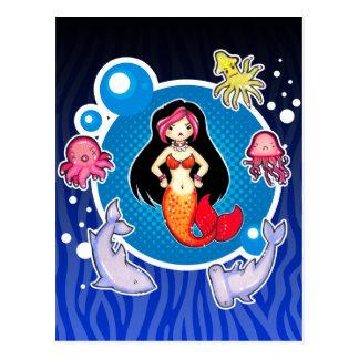 Sirena con la postal del personalizado de la actit