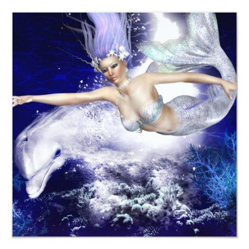Sirena con las invitaciones del delfín invitación 13,3 cm x 13,3cm