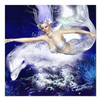 """Sirena con las invitaciones del delfín invitación 5.25"""" x 5.25"""""""