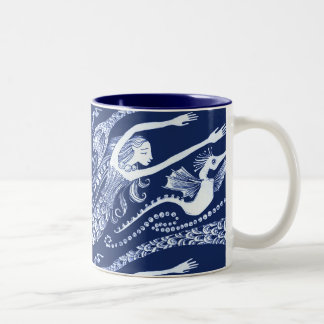 Sirena con las perlas y el Seahorse Taza Dos Tonos