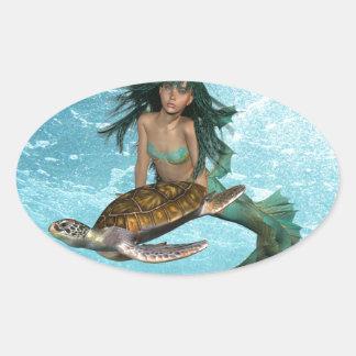 Sirena con los pegatinas de la tortuga de mar calcomanía de óval personalizadas