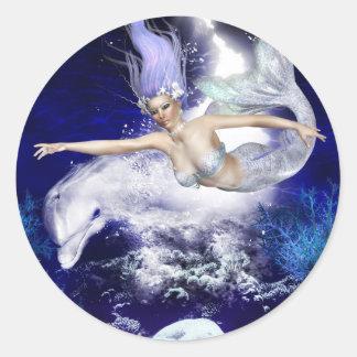 Sirena con los pegatinas del delfín pegatina redonda