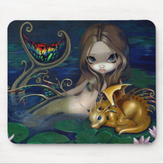 Sirena con un dragón de oro Mousepad Alfombrillas De Ratón