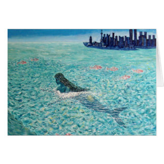 Sirena contra la marea tarjeta pequeña