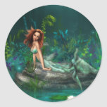 Sirena de Adventurine Etiquetas Redondas