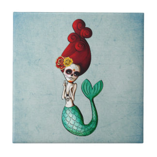 Sirena de Dia de Los Muertos Beautiful Azulejo Cuadrado Pequeño