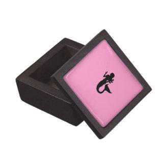 Sirena de Glow_Black-on-Pink del océano Caja De Regalo De Calidad