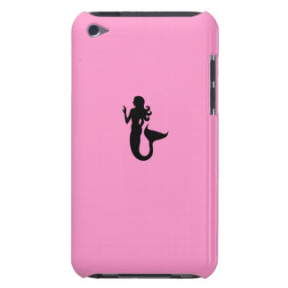 Sirena de Glow_Black-on-Pink del océano Barely There iPod Protectores