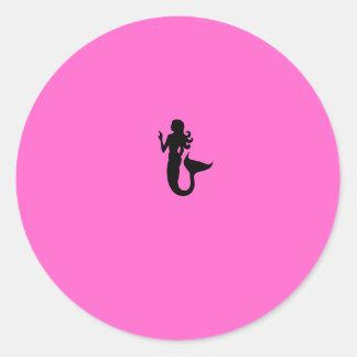 Sirena de Glow_Black-on-Pink del océano Pegatinas Redondas