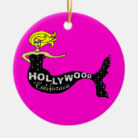 Sirena de Hollywood - diseño doble rosado Adornos De Navidad