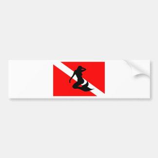 Sirena de la bandera de la zambullida pegatina para auto