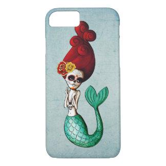 Sirena de la escuela vieja de Dia de Los Muertos Funda iPhone 7