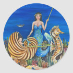 Sirena de la hada madrina etiqueta redonda
