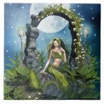 Sirena de la hoja azulejos ceramicos