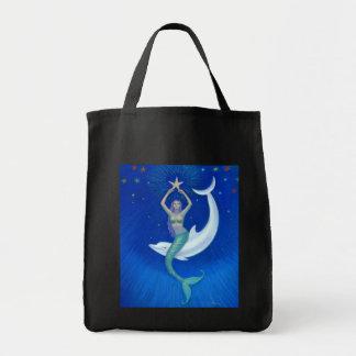 Sirena de la luna del delfín bolsa tela para la compra