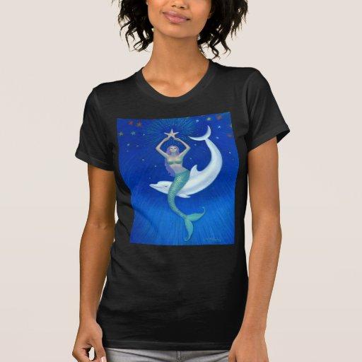 Sirena de la luna del delfín camisas