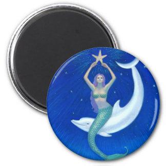 Sirena de la luna del delfín imán redondo 5 cm