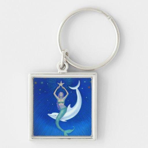 Sirena de la luna del delfín llavero cuadrado plateado