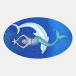 Sirena de la luna del delfín pegatinas de óval personalizadas
