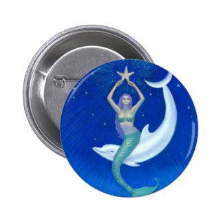 Sirena de la luna del delfín pin redondo 5 cm